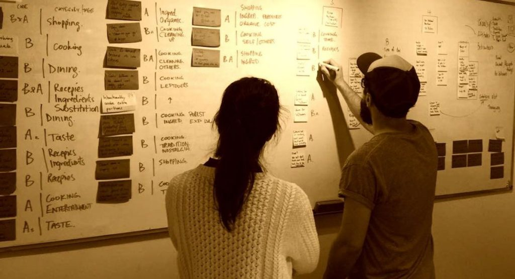 2 students analysing research results and affinity mapping on a whiteboard